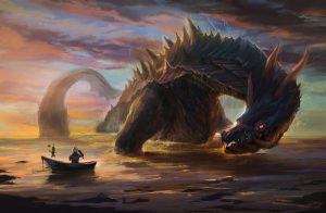 Dragon emerging from water by fisherman
